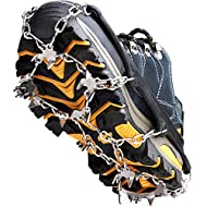 Crampons Ice Cleats Traction Snow Grips for Boots Shoes Women Men Kids Anti Slip 19 Stainless Steel Spikes Safe Protect for Hiking Fishing Walking Climbing Mountaineering