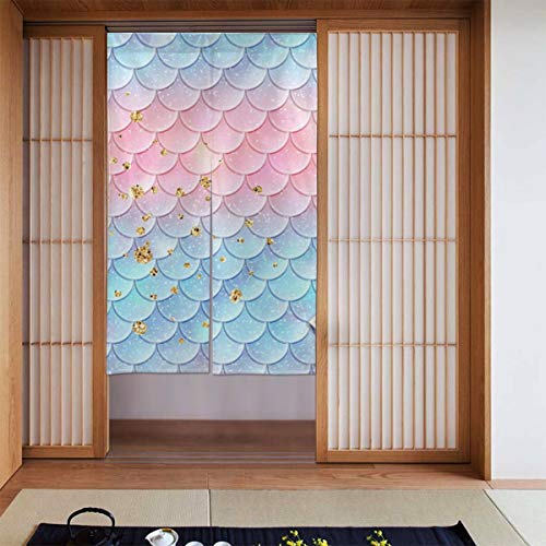 Cyloten Blue Pink Mermaid Fish Scales Doorway Curtain Door Hanging Tapestry Lightweight Partition Door Curtains Privacy Home Decor Window Drapery for Bistro Fitting Room Kitchen Closet