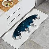 ZHIMI Alfombra de Cocina Antideslizante,Arte de Papel Hermosa Noche Origami Nieve,Estera de Cocina Felpudos Decorativo Alfombra para Dormitorio Baño Pasillo 45 x 120cm