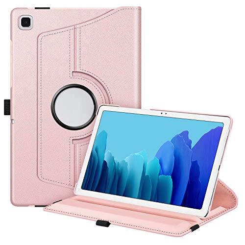 Fintie Funda Giratoria para Samsung Galaxy Tab A7 10.4' 2020 - Rotación de 360 Grados Carcasa con Auto-Reposo/Activación para Modelo SM-T500/T505/T507, Oro Rosa