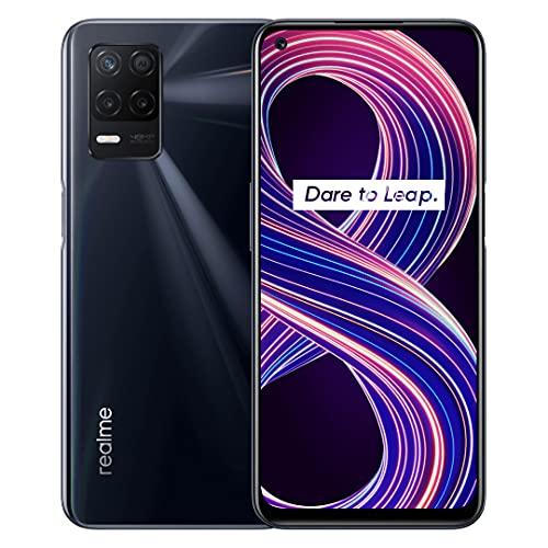 realme 8 5G Smartphone, Processore 5G Dimensity 700, Display fluido a 90 Hz, Grande batteria da 5.000 mAh, Fotocamera da 48 MP con modalità Nightscape, Dual Sim, NFC, 6+128GB, Nero (Supersonic Black)