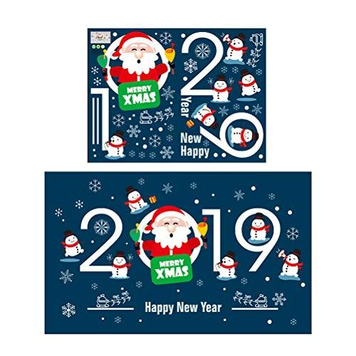 SUPVOX 2pcs Weihnachten Fenster Aufkleber Wandtattoo Weihnachten Fenster klammert Sich Urlaub Party Gunst Weihnachten Weihnachtsmann 2019 Frohe Weihnachten Muster