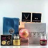 Geschenkset für Jungen, luxuriöser Geschenkkorb, Badekugeln, Seife, Roségold-Ohrringe und...
