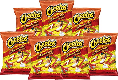 American Flamin Hot Cheetos (88.5g 7 Pack) Famous Spicy Cheesy Chili Corn Crisps Snacks Classic Popular Fun Bag Bulk Deal Fancy Appetizers Grab Varieties hot & Queso Flavor botanas Mexican