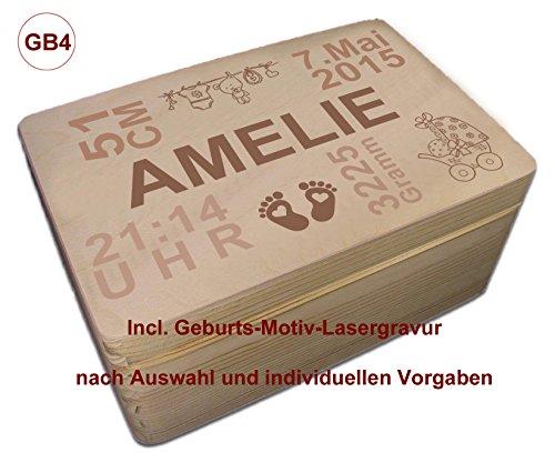 MidaCreativ zur Geburt, Holz-Geschenkbox Gr. 1 Kiefer incl. Auswahl-Lasergravur (GB4) optional auch abschließbar