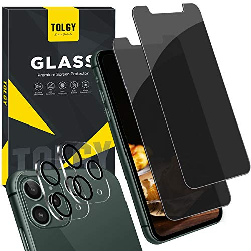"TQLGY [4 Pack] 2 Pack Privacy Screen Protector for iPhone 11 Pro Max (6.5"") Anti Spy Tempered Glass + 2 Pack Camera Lens Protector for iPhone 11 Pro Max 6.5 inch [Case Friendly] [Anti-Scratch] [Bubble Free]"
