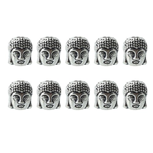 Pinzhi 10Pcs 3D Alloy Silver Buddha Head Bracelets Connector Charms Spacer Beads Crafts DIY