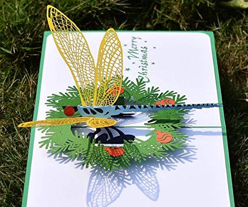 Tarjeta de felicitación 3D de Navidad con diseño de libélulas de X'Mas, con sobre, de Cutpopup