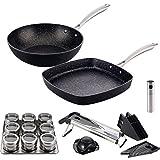 San Ignacio Vita: Set Cocina Sana: Incluye Sartenes: Wok Ø28 y asador 28x28 cm, Aluminio Forjado, aptas para inducción, Multicolor