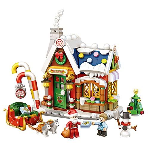 Juego de construcción modular para casa de Navidad, con bloques de construcción, juguete, dulces, muebles, cochecito, máquina quitanieves, árboles de Navidad, construcción de casa y artesanía
