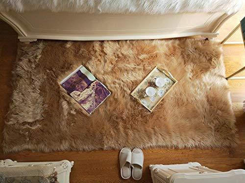 N/ JXBDT - Cojín Ovalado de Lana de Peluche para sofá, Dormitorio, Cama, balcón, balcón o balcón, Cubierta a la Moda, Mesa Baja, 90 x 180 cm, Color champán
