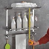 バスルームシェルフタオルレールガラスフレームレールアルミニウムと極厚強化ガラス壁ブラケットフック付きシャワー棚面白い生活 chen