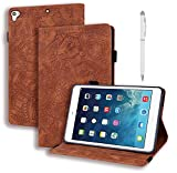 Hülle für Fire HD 10 Tablet mit Klappständer Schutzhülle Ultra Dünn PU Leder für Tablets der 9. Generation 2019/ 7. Generation 2017 Braun