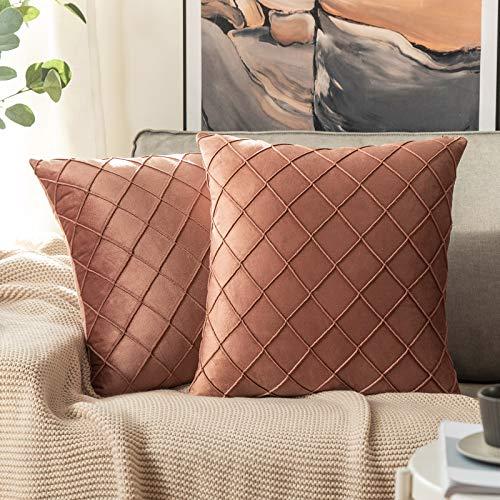 MIULEE 2 Piezas Funda de Cojines Terciopelo Suave Color Sólido Funda de Almohada Moderna Duradera Decoración para Habitacion Sofá Comedor Cama Dormitorio Oficina Sala de Estar 45x45cm Mermelada