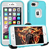 FOGEEK iPhone 8 Plus Case,iPhone 7 Plus Case,iPhone 6s Plus Case, [Dust-Proof] Belt-Clip Heavy Duty Kickstand Cover[Shockproof] PC+TPU for Apple iPhone 7 Plus,iPhone 6/6s Plus(Blue and White)