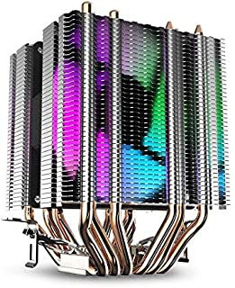 GOUWEI CPU Air Cooler 6 Heat Pipes Twin-Tower Heatsink with 90Mm Rainbow Led Fans for Intel 775/1150/1155/1156/1366