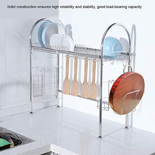 Estantería de Fregadero de Acero Inoxidable Escurreplatos de Acero Inoxidable para Cocina Organizador de Platos y Especias 67 x 67 x 28cm