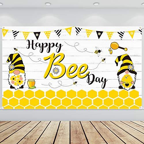 Bandera de Happy Bee Day Bandera Telón de Fondo de Fiesta de Abeja Bandera de Abeja Gnomo Decorativo de Fiesta de Abejorro Decoración de Baby Shower, 6 x 4 Feet