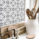 RoomMates RMK4650GM Galway Gray Tile Backsplash Peel And Stick Giant Wall Decals, Easy Bathroom or Kitchen Backsplash