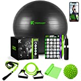 The Ultimate Yoga Ball Set - 5 in 1 65cm Anti Burst Fitness Ball Set, Resistance Band, Pilates Band, Stretch Yoga Strap, and Spiky Massage Ball with Fitness Guide and Videos Swiss Ball Exercise Ball