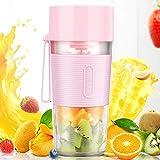 Hefacy Batidora portátil, Mini portátil USB recargable de frutas de la máquina, licuadora personal para batido de jugo de hielo triturado (rosa)