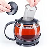 Glass Teapot with Infuser and Warmer Sleeve, Blooming Loose Leaf Tea Pot, Tea Infuser Holds 4-5 Cups - 2 Infusers Included