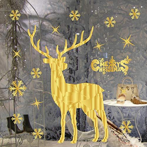 Yoillione Fensteraufkleber Weihnachten Wandaufkleber,Weihnachts Wandtattoo Weihnachten Rentier Gold,Weihnachten Fensterbilder Selbstklebend