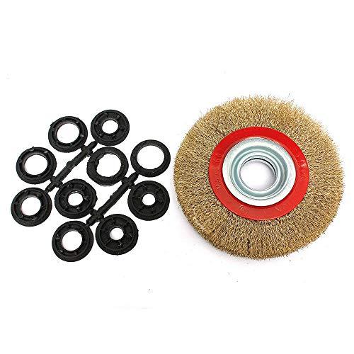 Be-Tool Spazzola rotonda con setole in acciaio da 12,7 a 20,3 cm, con anelli adattatori. per smerigliatrice da banco, confezione da 1, oro