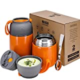 2 Pack Vacuum Insulated Food Jar Hot Food Containers for Lunch School Soup Thermos For Kids,Travel...