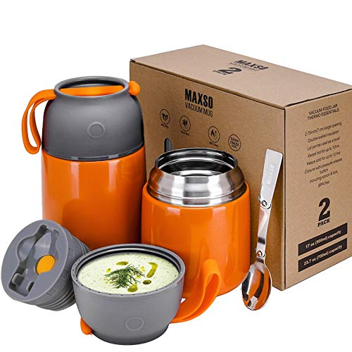 2 Pack Vacuum Insulated Food Jar Hot Food Containers for Lunch School Soup Thermos For KidsTravel Food Flask Hot Cold 24oz17oz Orange