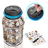 Digital Coin Bank, Piggy Bank for Boys and Girls, Coin Counter Bank with Ultra-Large Capacity, Money Jar with Child Stickers – Fun Coin Counting Jar,, Unisex Gifts for Adults