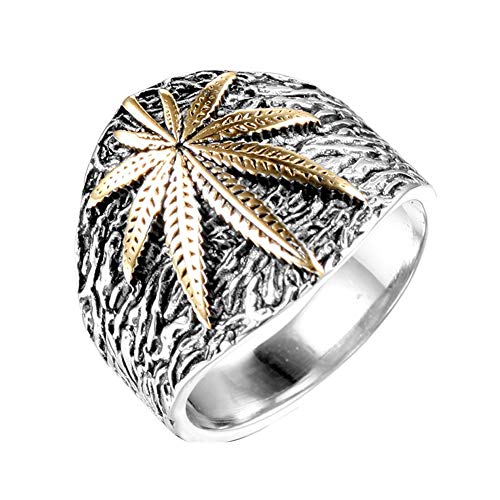 GuDeKe Men's Boys Stainless Steel Weed Marijuana Cannabis Leaf Ring Symbol Jewelry for Men (Gold-Steel, S)