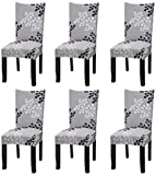 YISUN Stretch Dining Chair Covers Removable Washable Dining Room Chair Slipcovers Spandex Chair Slipcover Chair Covers for Dining Room Set of 6, Grey / Plain