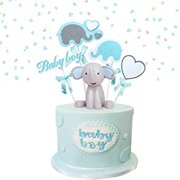 Amazon Com Jevenis 2 Pcs Elephant Cake Decoration Boy Baby Shower Centerpieces Its A Boy Cake Topper Bay Shower Cake Decoration Toys Games
