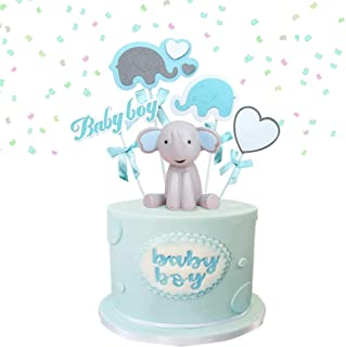 Elephant Figure Collection Playset Doll Toy Figurines For Baby Shower Kids Birthday Cake Decoration 1 Pair Elephant Cake Toppers