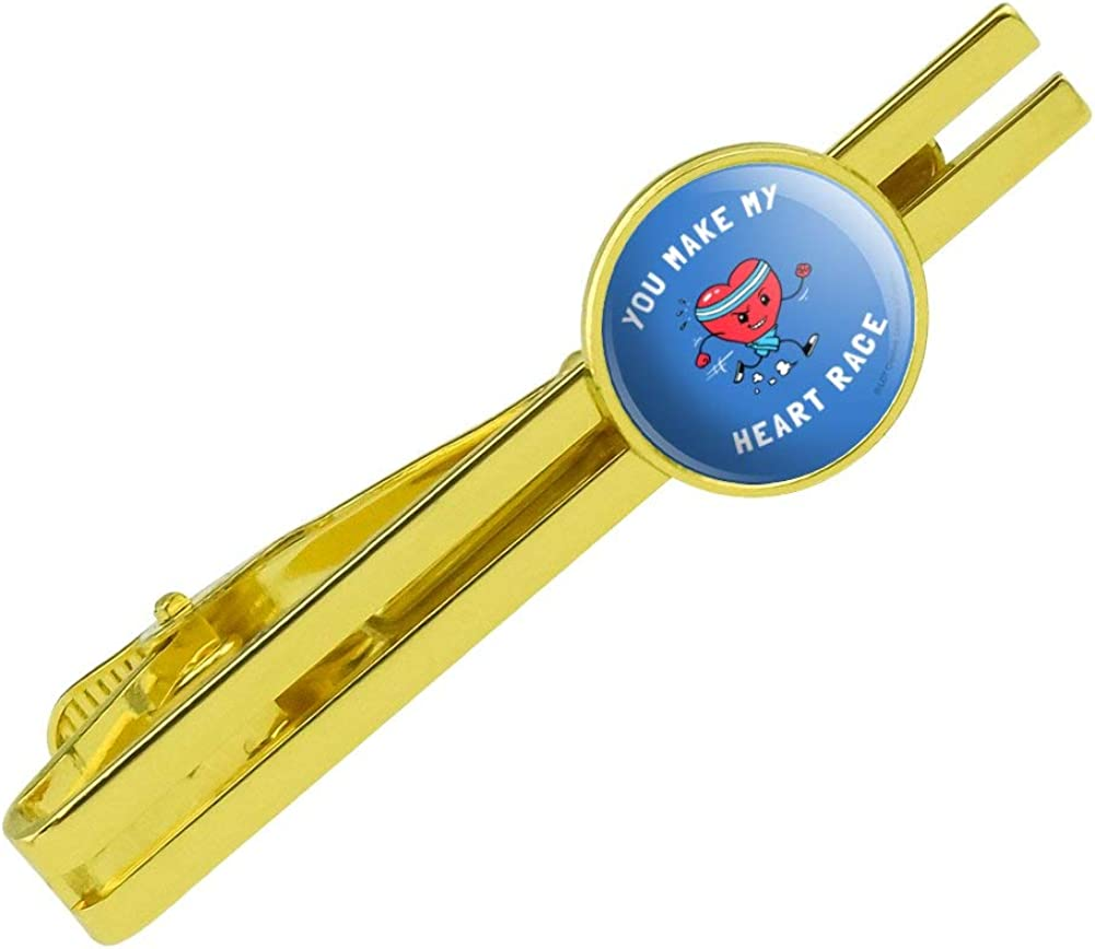 GRAPHICS & MORE You Make My Heart Race Funny Humor Round Tie Bar Clip Clasp Tack Gold Color Plated