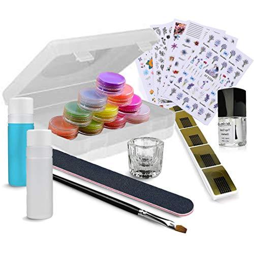 EuBeCos Acryl Nagel Color Kit 21-teilig Modellage und Nailart Starterset mit Anleitung keine UV Lampe nötig MADE IN GERMANY