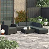 Festnight Set Muebles de Jardín 6 Piezas y Cojines Juego de Sofás de Jardín Terraza Balcón o Patio Exterior Ratán Sintético Negro