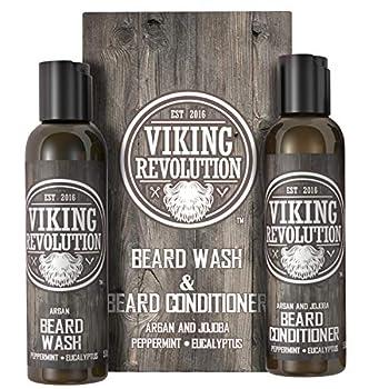 Viking Revolution Beard Wash & Beard Conditioner Set w/Argan & Jojoba Oils – Softens Smooths & Strengthens Beard Growth - Natural Peppermint and Eucalyptus Scent - Beard Shampoo w/Beard Oil  5 oz