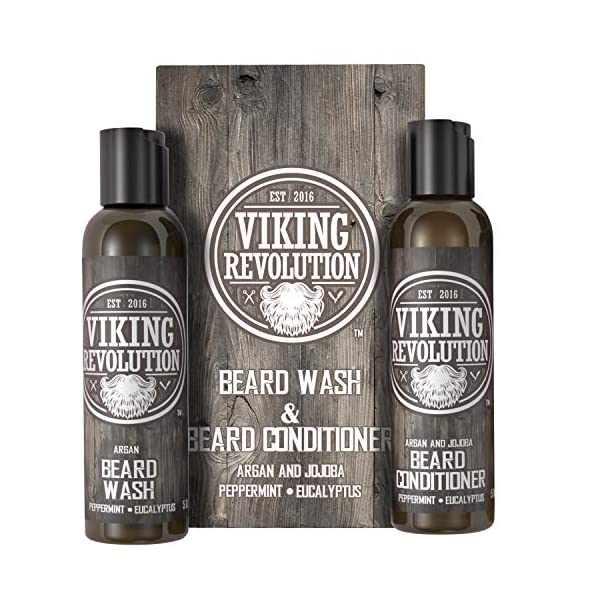 Viking Revolution Beard Wash & Beard Conditioner Set w/Argan & Jojoba Oils – Softens, Smooths & Strengthens Beard Growth… 1