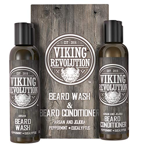 Viking Revolution Beard Wash & Beard Conditioner Set w/Argan & Jojoba Oils - Softens, Smooths & Strengthens Beard Growth - Natural - Beard Shampoo w/Beard Oil Peppermint and Eucalyptus 5 oz