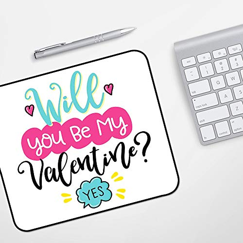 para Ratón con Cable o Inalámbrico,Cita, ¿Serás mi Valentín? Pregunta y respuesta positiva Corazones alegres, rosa turquesa y negr,Impermeable Alfombrilla gruesa de goma antideslizante para ratón