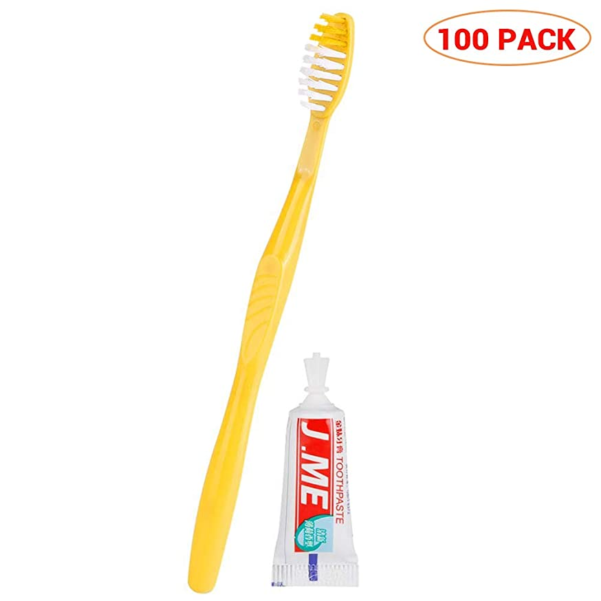 く敬な十URHOMY 100セット歯磨き粉セットポータブル歯磨きキット付き使い捨て歯ブラシ