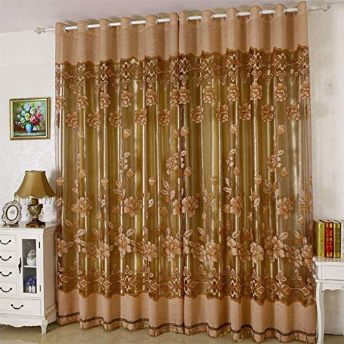 Jacquard Window Curtain 39 Inch Length Floral Curtain Drape Panels Valance with Lace Sheer Backing Tassels Attached Fancy Valance for Living/Dining Rooms (Gold)