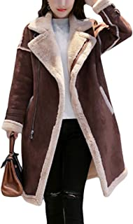 Women Winter Sherpa Lined Faux Suede Leather Coat Outerwear Sherling Jackets