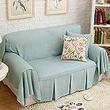 HM&DX Funda de sofá, con Volantes Respirable Durable Anti-Pilling Resistencia al Deslizamiento Color sólido Mueble Cover Protector del sofá-Cian sofá