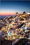 Poster 20 x 30 cm: Santorini zur blauen Stunde von Dennis