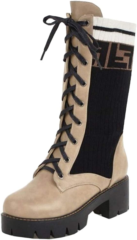 VulusValas Women Fashion Mid Heel Mid Calf Boots