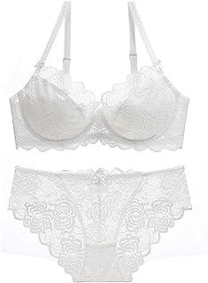 DKee Conjunto de ropa interior para mujer, sujetador y bragas de encaje push-up XL, ropa interior delgada para pechos gran...