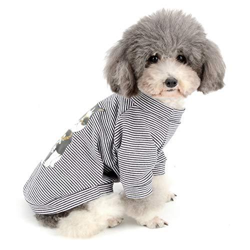 Zunea a strisce per cani, maglietta estiva per cuccioli di gatto, in cotone, per cani di piccola taglia, taglia M